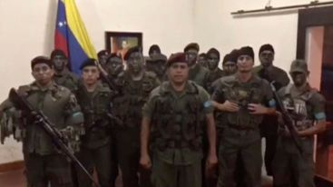 A still image from video released by Operation David Carabobo purportedly shows a group of men dressed in military uniforms announcing uprising in Valencia, Venezuela August 6, 2017. Operation David Carabobo/Handout via REUTERS ATTENTION EDITORS THIS IMAGE HAS BEEN SUPPLIED BY A THIRD PARTY. NO RESALES. NO ARCHIVES TPX IMAGES OF THE DAY