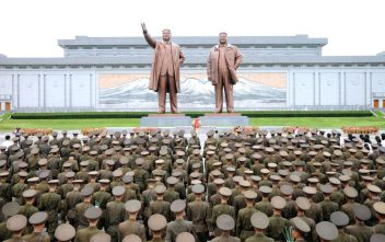 Servicepersons of the Korean People's Army (KPA) and the Korean People's Internal Security Forces (KPISF), civilians, school youth and children visited the statues of President Kim Il Sung and leader Kim Jong Il on the occasion of the 72nd anniversary of national liberation in this undated photo released by North Korea's Korean Central News Agency (KCNA) on August 15, 2017. KCNA/via REUTERS ATTENTION EDITORS THIS PICTURE WAS PROVIDED BY A THIRD PARTY. NO THIRD PARTY SALES. SOUTH KOREA OUT. NO COMMERCIAL OR EDITORIAL SALES IN SOUTH KOREA. TPX IMAGES OF THE DAY
