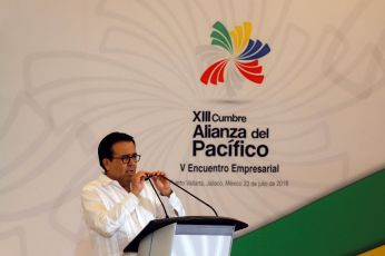 Mexico's Economy Minister Ildefonso Guajardo talks during the opening of the 5th Business Meeting of the Pacific Alliance in Puerto Vallarta, Jalisco, Mexico July 23, 2018. REUTERS/Carlos Jasso