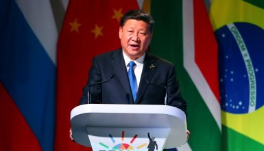 China's President Xi Jinping speaks at the BRICS Summit in Johannesburg, South Africa, July 25, 2018. REUTERS/Mike Hutchings