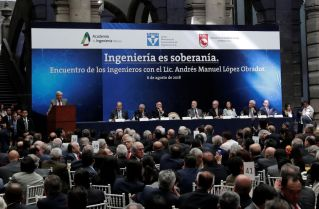 Mexico's President elect Andres Manuel Lopez Obrador gives his speech during a meeting with members of the Mexican association of engineers at the Palace of Mines in Mexico city, Mexico August 6, 2018. REUTERS/Henry Romero