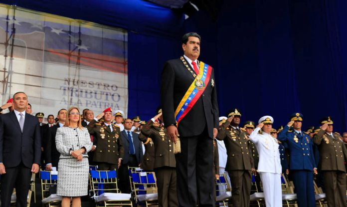 Venezuela's President Nicolas Maduro attends to a military event in Caracas, Venezuela August 4, 2018. Miraflores Palace/Handout via REUTERS ATTENTION EDITORS THIS PICTURE WAS PROVIDED BY A THIRD PARTY.
