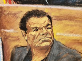 "Accused Mexican drug lord Joaquin ""El Chapo"" Guzman watches testimony in this courtroom sketch as he appears in Brooklyn federal court in New York, U.S., December 3, 2018. S REUTERS/Jane Rosenberg NO RESALES. NO ARCHIVES"
