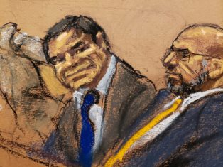 """Accused Mexican drug lord Joaquin """"El Chapo"""" Guzman and defense attorney A. Eduardo Balarezo, sit in court in this courtroom sketch during Guzman's trial in Brooklyn federal court in New York City, U.S., January 30, 2019. REUTERS/Jane Rosenberg NO SALES. NO ARCHIVES"""