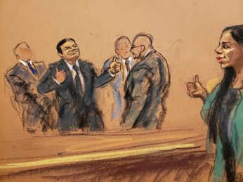 "The accused Mexican drug lord Joaquin ""El Chapo"" Guzman is seen in this courtroom sketch, giving thumbs up sign to wife Emma Coronel Aispuro, before being escorted out of courtroom on the day he was found guilty of smuggling tons of drugs to the United States, in Brooklyn federal court in New York, U.S., February 12, 2019. REUTERS/Jane Rosenberg NO RESALES. NO ARCHIVES"