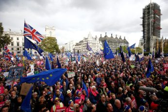 EU supporters attend a rally as parliament sits on a Saturday for the first time since the 1982 Falklands War, to discuss Brexit in London, Britain, October 19, 2019. REUTERS/Henry Nicholls
